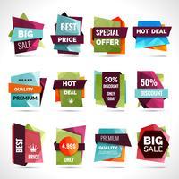 Etiquetas de venda de origami vetor
