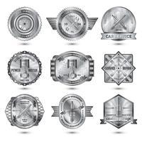 conjunto de emblemas de metal de oficina de reparação vetor