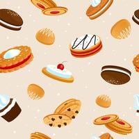 padrão sem emenda de cookies vetor