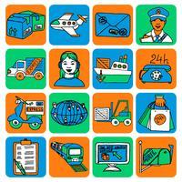 Cor de ícones de logístico dos desenhos animados