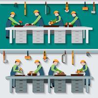 Ilustração de oficina de carpintaria