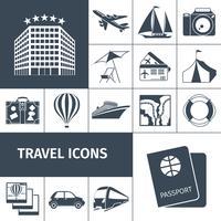 Conjunto de ícones de viagens preto vetor