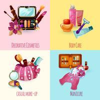 Conjunto de ícones de cosméticos vetor