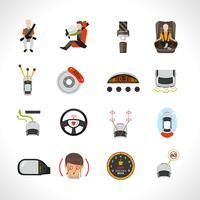 Ícones do sistema de segurança do carro