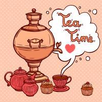 Fundo de chá com Samovar