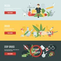 Conjunto de Banner de drogas vetor