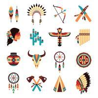 Conjunto de ícones indígenas americanos étnicos