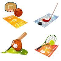 Conjunto de conceito de equipamento de esporte