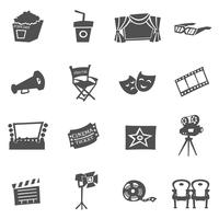 Conjunto de ícones do cinema vetor