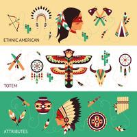 Banners de conceito de design étnico vetor