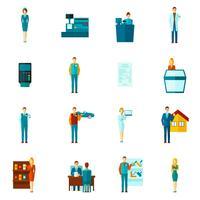 conjunto de ícones de vendedor plana