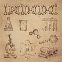 Ícones de doodle de ciência