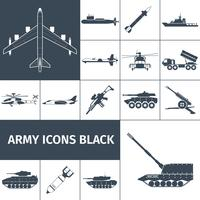 Exército ícones preto