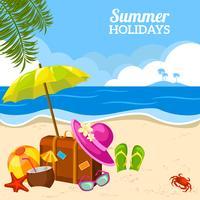 Vista à beira-mar de verão no cartaz da praia