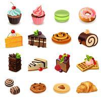 Conjunto de ícones de bolos vetor