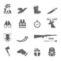 Conjunto de ícones pretos de caça