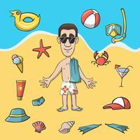 Pacote de construção de personagem de viagens de férias vetor