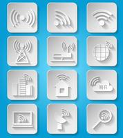 Conjunto de ícones de rede de comunicação sem fio vetor