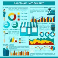 Conjunto de infográficos de vendedor vetor