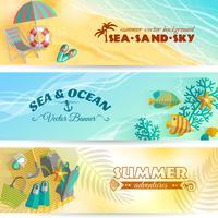 Conjunto de bandeiras de férias de férias de verão