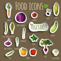 Conjunto de vegetais de comida