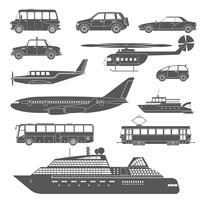 Conjunto de ícones de transporte preto e branco detalhado