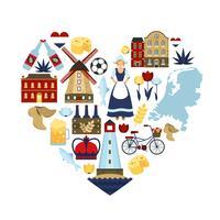 Conceito de coração Holanda vetor