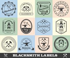 Conjunto de etiquetas de ferreiro