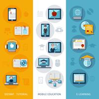 banners de e-learning verticais vetor