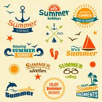 Conjunto de etiquetas de elemento de verão