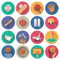 Conjunto de ícones do esporte plana vetor