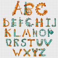 Alfabeto Mecânico Colorido vetor