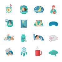 conjunto de ícones plana de tempo de sono