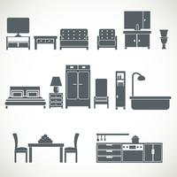 Conjunto de blackicons de design de móveis para casa