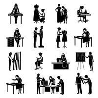 Conjunto de ícones de costureira vetor