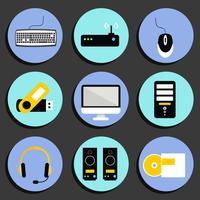 Conjunto de ícones de computador de negócios vetor