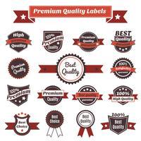 etiquetas de qualidade premium e coleção de crachás