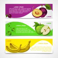 Coleção de banners de frutas mistas vetor