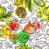 Padrão de vegetais em aquarela