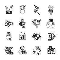 Conjunto de ícones de análise de negócios preto vetor