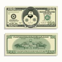 dinheiro de crianças para impressão, cem sorrisos vetor