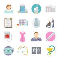 Enfermeira, ícone, apartamento vetor