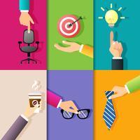 Negócios, mãos, ícones