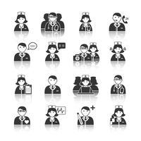 Conjunto de ícones de médicos e enfermeiros de medicina