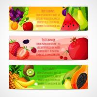 Banners de frutas horizontais vetor