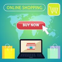 Compre agora o conceito de design de compras online vetor