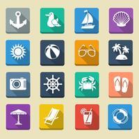 Ícones de férias de verão mar