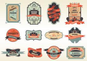 Coleção de emblemas de rótulos retrô original vetor