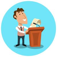 Gerente de negócios fazendo apresentação pública vetor