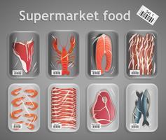 Conjunto de peixe e carne de supermercado